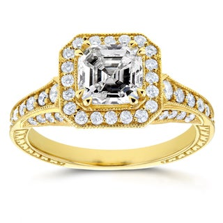 Annello 14k Yellow Gold 1 3/5ct TDW Asscher Diamond Antique Etching Engagement Ring (H-I, SI1-SI2)
