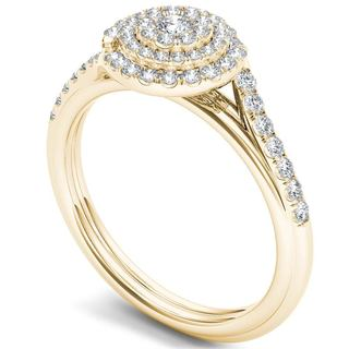 De Couer 10k Gold 1/2ct TDW Diamond Bypass Double Halo Engagement Ring (H-I, I2)