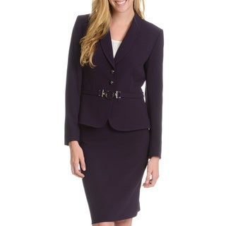 Tahari Arthur S. Levine Women's Circle Belt Skirt Suit