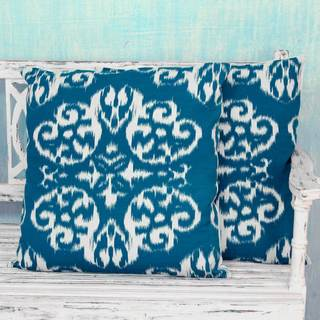 Set of 2 Handcrafted Cotton 'Ikat Mosaics' Cushion Covers (India)