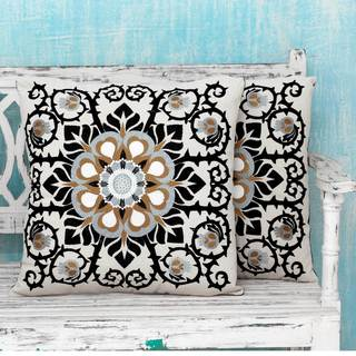 Set of 2 Handcrafted Cotton 'Jaipur Blossom' Cushion Covers (India)