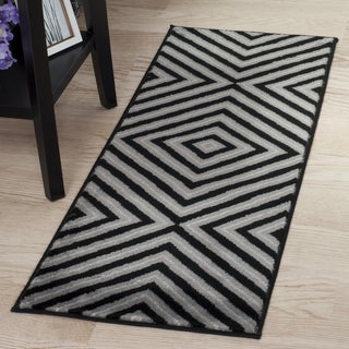 "Windsor Home Kaleidoscope Rug - Black & Grey - 1'8""x5'"