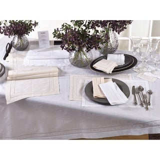 Embroidered and Hemstitch Tablecloth