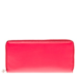 Alexander McQueen Pink Smooth Leather Travel Wallet