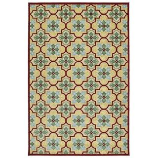 Indoor/Outdoor Luka Gold Tile Rug (5'0 x 7'6)