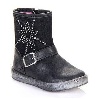 Daviccino DGI-02 Children Toddlers Comfort Rhinestone Deco Ankle Strap Boots