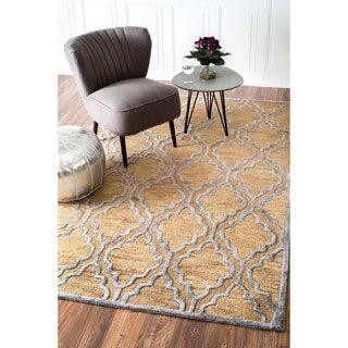 nuLOOM Handmade Wool/ Viscose Raised Trellis Bronze Rug (8'6 x 11'6)