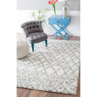 nuLOOM Soft and Plush Netted Lattice Shag White Rug (9'2 x 12')