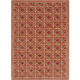 Handmade Wool Cordoba Maroon Rug Size (8' x 11')