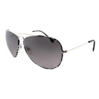 Emilio Pucci Women's EP 125S 045 Silver Black And White Pucci Print Aviator Sunglasses