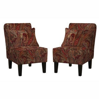 angelo:HOME Jules Soft Velvety Paisley Red Wine Armless Chair and Pillows (Set of 2)