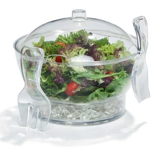 6.5 Quart Chilled Multi Functional Serving Bowl Set with Utensils