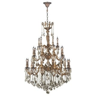 """French Imperial Collection 25 light French Gold and Golden Teak Crystal Chandelier 26"""" x 50"""" Three 3 Tier"""