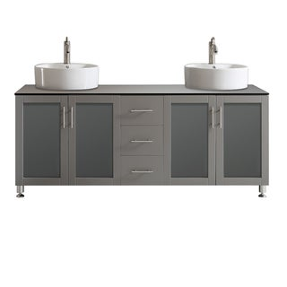 Tuscany 72-inch Grey Double Vanity with White Vessel Sink with Glass Countertop without Mirror