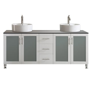 Tuscany 72-inch White Double Vanity with White Vessel Sink with Glass Countertop without Mirror