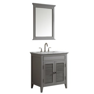 Piedmont 30-inch Grey Single Vanity with Carrera White Marble Top with Mirror
