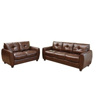 Abbyson Living Underwood Top-grain Leather Sofa and Loveseat
