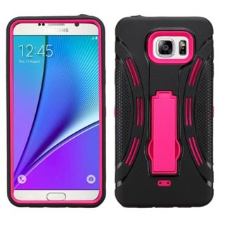 Insten Symbiosis Soft Silicone/ PC Dual Layer Hybrid Rubber Phone Case Cover with Stand For Samsung Galaxy Note 5