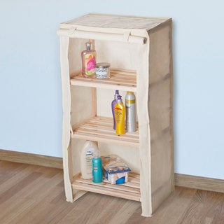 Windosr Home Three Tier Light Wood Shelf With Removable Cover