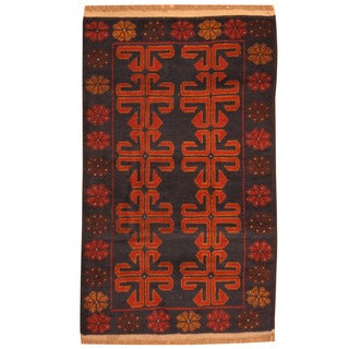 Herat Oriental Afghan Hand-knotted Tribal Balouchi Blue/ Rust Wool Rug (2'8 x 4'6)
