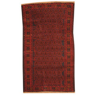 Herat Oriental Afghan Hand-knotted Tribal Balouchi Red/ Navy Wool Rug (2'8 x 4'7)