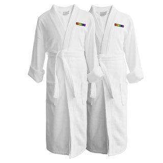 Wyndham Egyptian Cotton LGBT Pride Terry Spa Robe - Flag (Set of Two; Male)