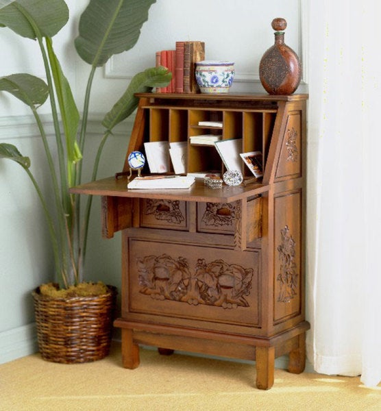 Hand-carved Drop-front Secretary Desk