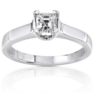 Annello 14k Gold 1/2ct TDW Asscher Diamond Solitaire Ring (H-I, SI1)