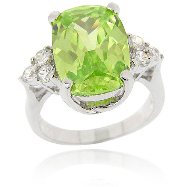 Icz Stonez Sterling Silver Oval Green CZ Ring
