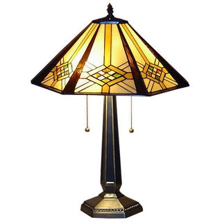 Tiffany-style 2-light Hex Mission Table Lamp