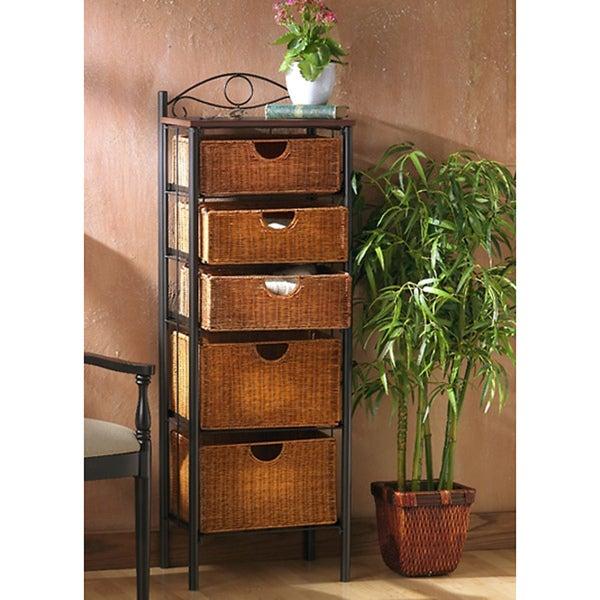 Upton Wicker 5-drawer Storage Unit