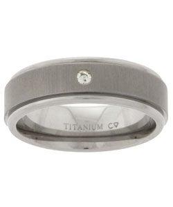 Men's Titanium Diamond Wedding Band (6.8 mm)