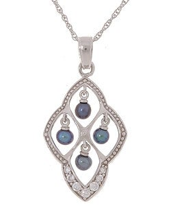 Sterling Silver Black Pearl and Cubic Zirconia Necklace (4 mm)