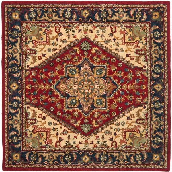 Safavieh Handmade Heritage Heriz Red/ Navy Wool Rug (6' x 9')