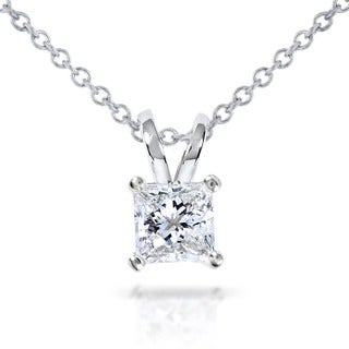 14k Gold 1/2ct Princess Diamond Solitaire Pendant