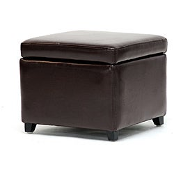 Barcy Bi-cast Leather Espresso Storage Cube Ottoman