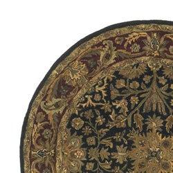 Hand-tufted Regal Black/ Burgundy Wool Rug (8' Round)