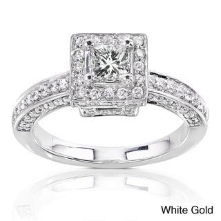 Annello 14k Gold 1ct TDW Diamond Princess Halo Engagement Ring (H-I, I1-I2) with Bonus Item