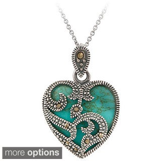 Glitzy Rocks Sterling Silver Marcasite and Gemstone Heart Necklace