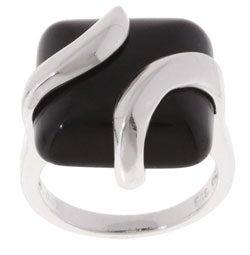 Glitzy Rocks Sterling Silver Square Black Onyx Ring
