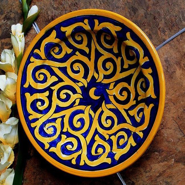 Sunswirl Ceramic Plate (Morocco)