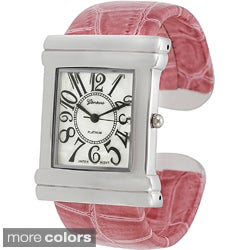 Geneva Women's Platinum Croc Skin Stamped Antique Watch
