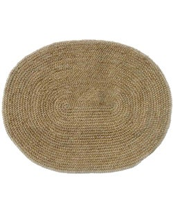 """Hand-woven Braided Bleached Natural Jute Rug (6' 6"""" x 8' Oval)"""