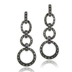 Glitzy Rocks Sterling Silver Marcasite Circle Drop Earrings