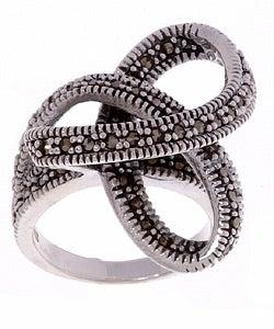 Glitzy Rocks Sterling Silver Marcasite Swirl Ring