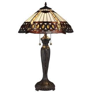 Tiffany-style Amberjack Table Lamp