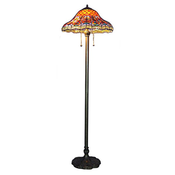 Tiffany style peacock floor lamp overstock shopping for Overstock tiffany floor lamp