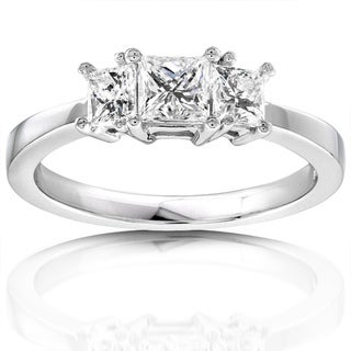 Annello 14k Gold 3/4ct TDW Diamond 3-stone Ring (H-I, SI1-SI2)
