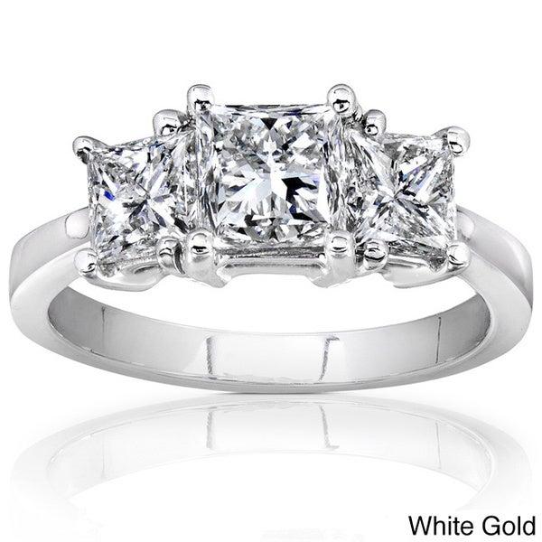 Annello 14k Gold 2ct TDW Three Stone Diamond Engagement Ring (H-I,SI1- SI2)