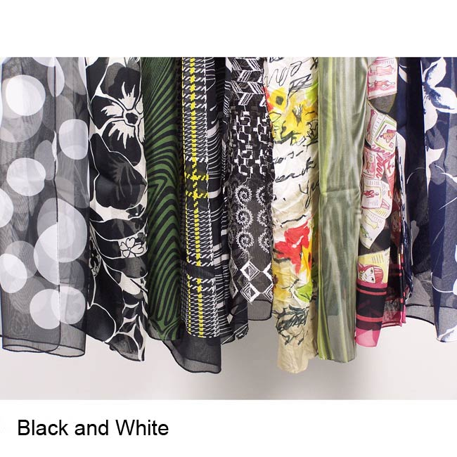 Assorted Italian Flair Polyester Silk Oblong Scarves (Case of 12)